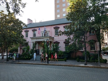 Front of the Olde Pink House from Reynolds Square